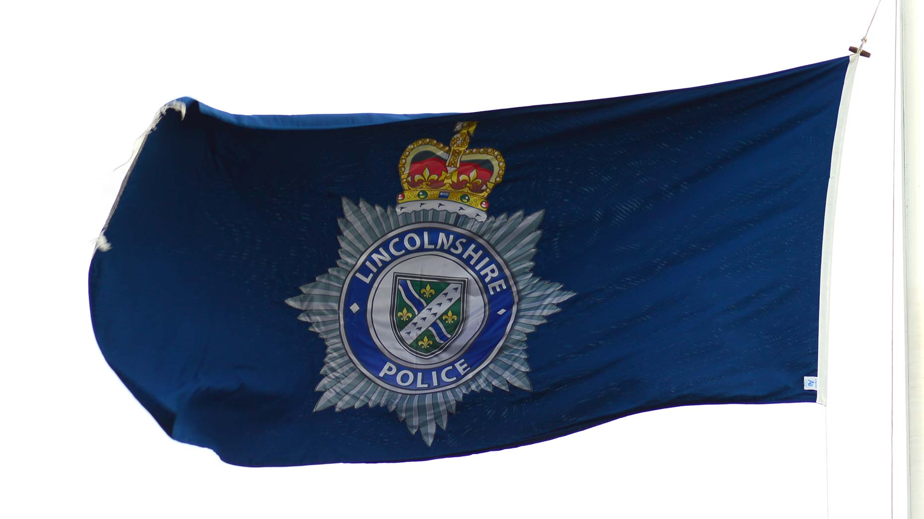 Lincolnshire Police flag at the Nettleham HQ. Photo: Steve Smailes for The Lincolnite