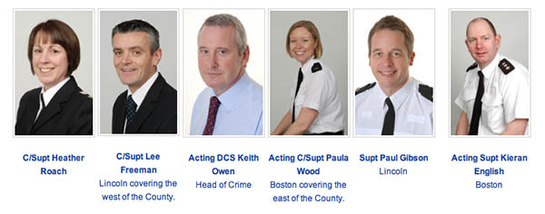 The new arrangement of senior officers. Photo: Lincolnshire Police