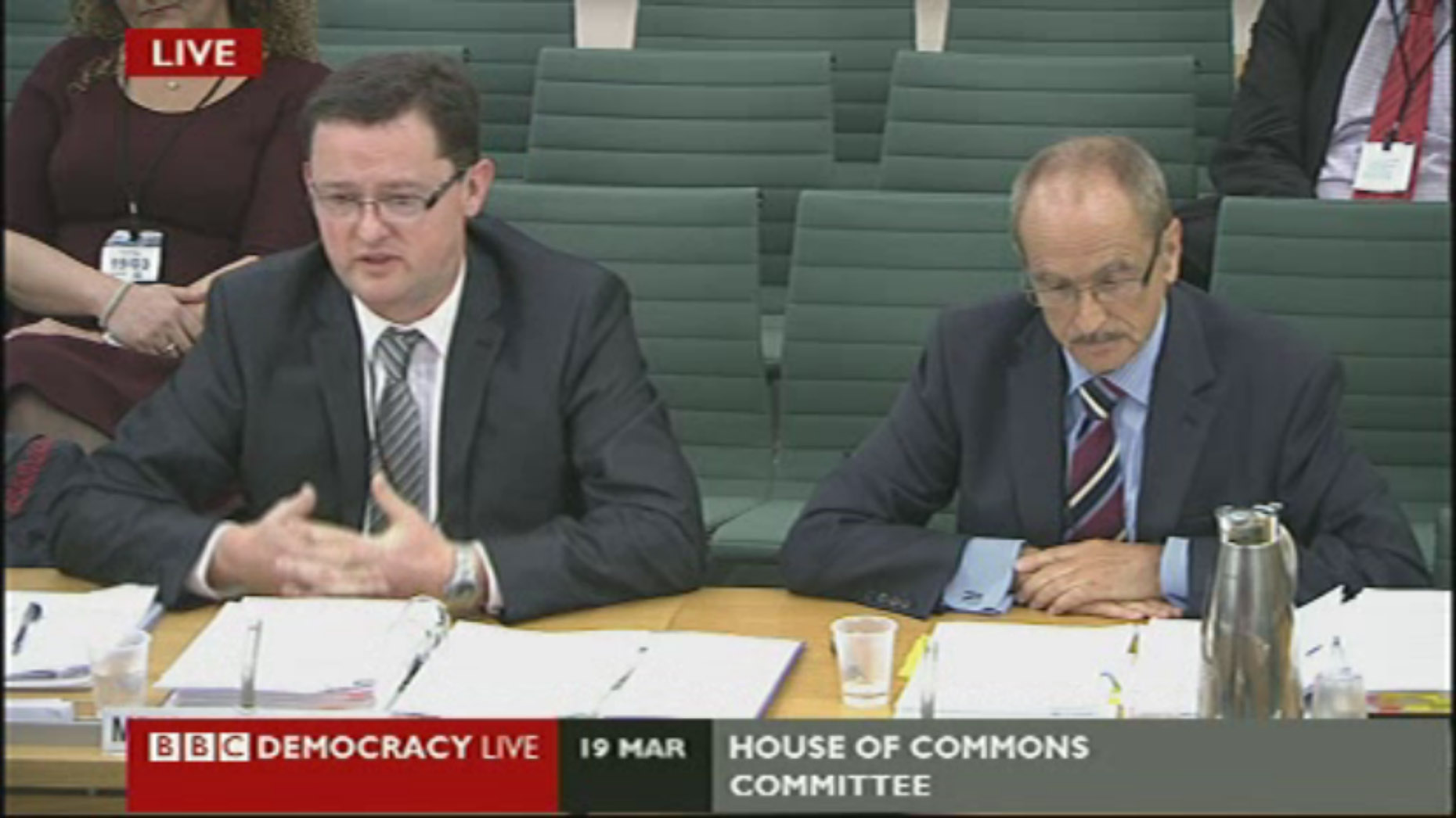 Former ULHT boss Gary Walker and former chair David Bowles talk to the Health Select Committee as part of an inquiry into high death rates.