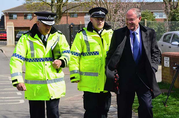 Chief Constable Neil Rhodes for the first time appearing in public along PCC Alan Hardwick after his suspension was quashed. Pictured along with Inspector Simon Outen on a patrol walk in Saxilby in April 2013. Photo: Steve Smailes for The Lincolnite