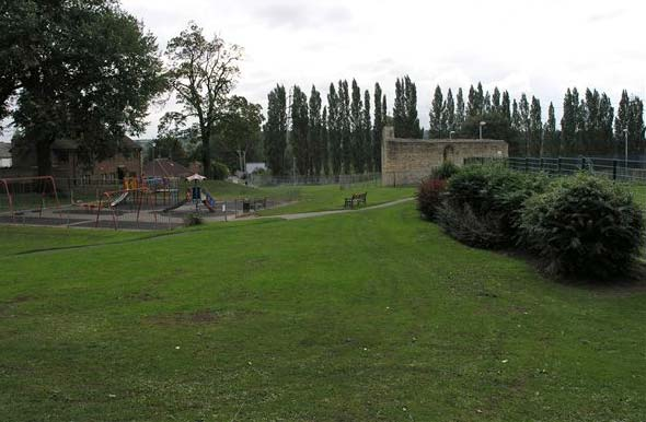 Monks Abbey ruins adjacent to modern children's play facilities. Photo: Heritage Connect Lincoln