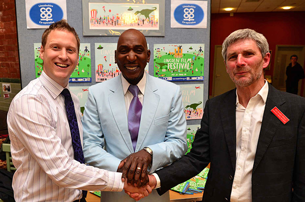 Colin McFarlane with Lincolnshire Co-operative Membership and Community Assistant Manager Richard Whittaker (left) and Lincoln Film Society Chairman Richard Hall (right). Photo: Steve Smailes for The Lincolnite