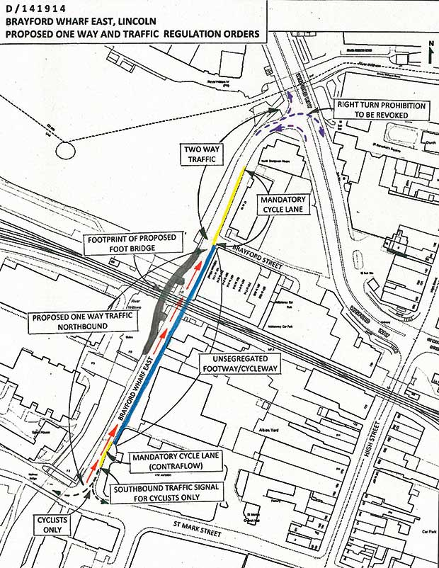 The one-way system proposals for Brayford Wharf East from Lincolnshire County Council.