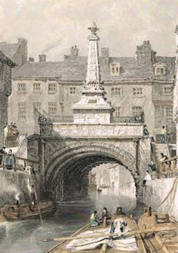 High Bridge in 1836, with the monument intact. This was later removed due to the strain it was putting on the bridge. In 1996, parts of the monument were erected again in St Mark's.