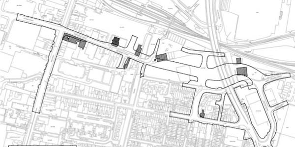 An outline of the proposed road, with buildings to be demolished marked in grey.