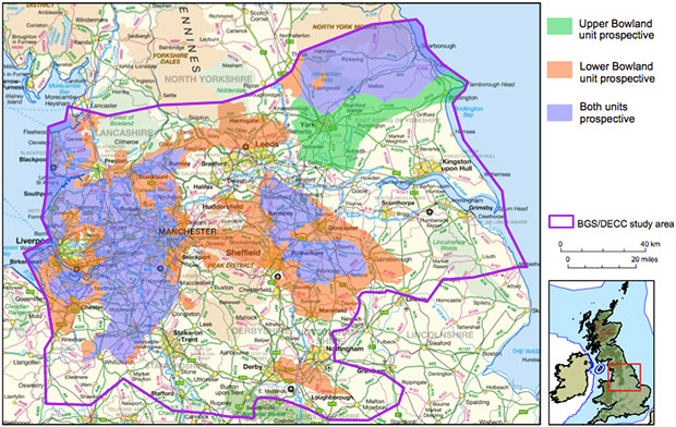Areas prospective for gas in the upper and lower parts of the Bowland-Hodder unit. The orange area covering part of Lincolnshire denotes that shale is thicker and deeper. Image contains Ordnance Survey data.