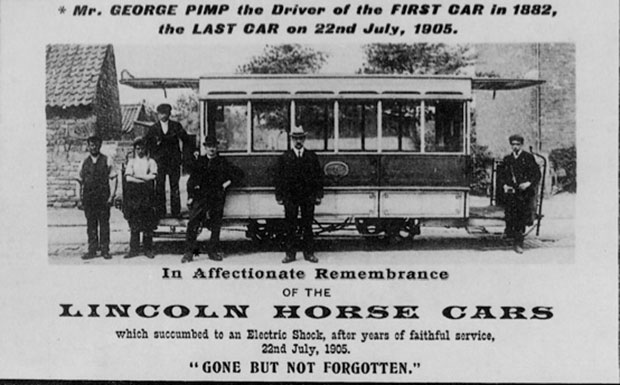 The last Lincoln horse tram, whose driver died in an electrical shock incident. Photo: Tramways and Light Railway Society