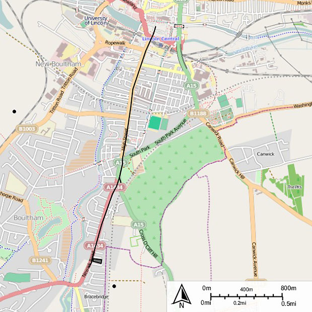 Map of the route of the Lincoln tram system.