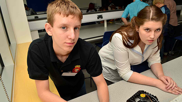 Katie Bruck-Muir (right) and Luke Turton with their handmade Hovercraft. Photo: Steve Smailes for The Lincolnite