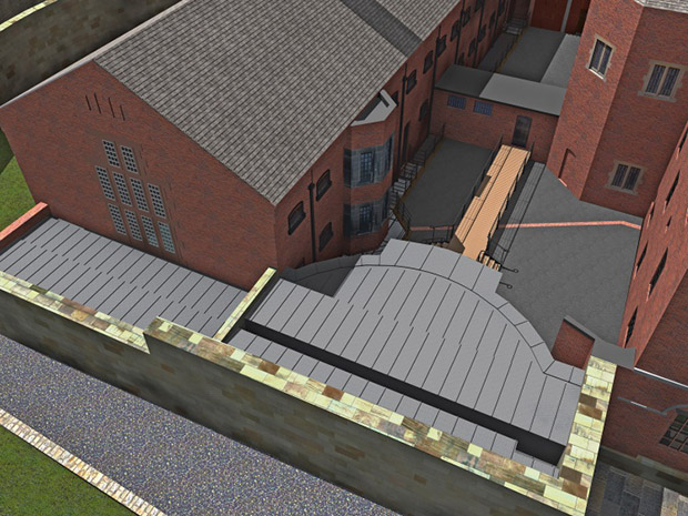 3D rendering view of the Magna Carta vault at the prison at Lincoln Castle