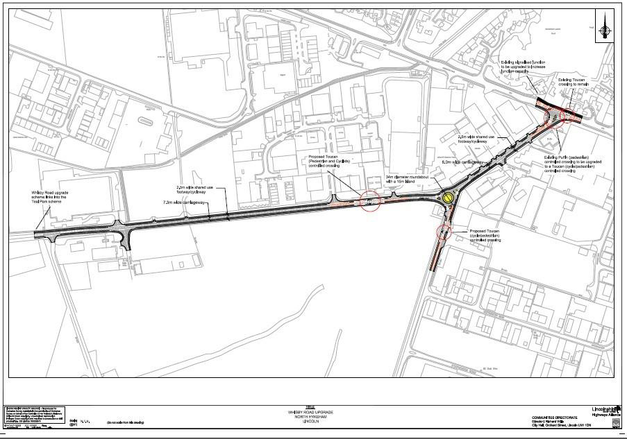 Map of Whisby Road works. Image: LCC   Click to enlarge