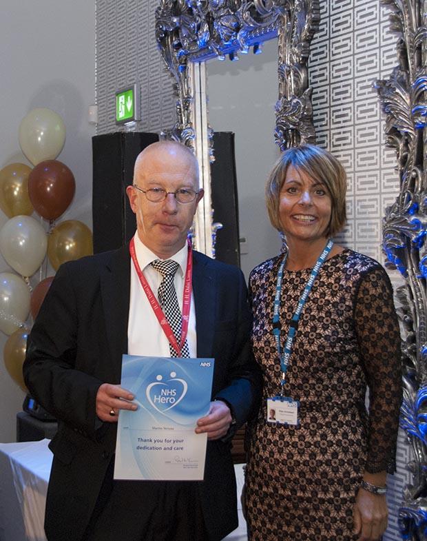 NHS Hero Martin Stevens pictured with LCHS Cheif Executive Ellen Armistead. (Photo: LCHS)