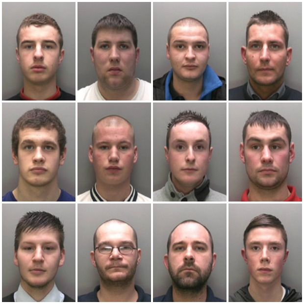 The 12 men all charged with violence disorder before a football match last October. Photos: Lincolnshire Police