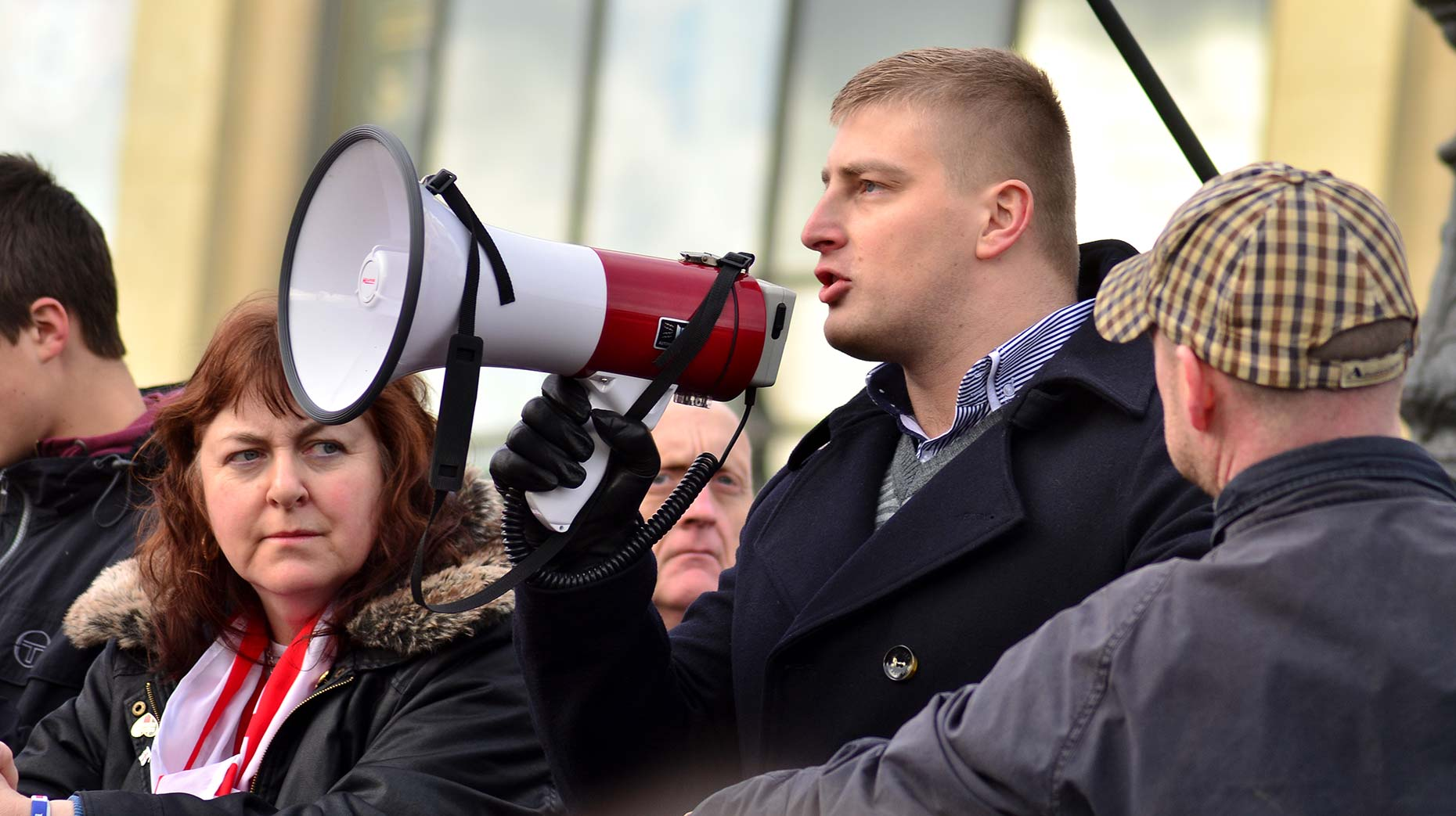 Lincolnshire Eastern European community representative Igor Kartel briefly spoke at the anti-mosque protest in January 2014 but he was stopped by the East Anglian Patriots. Photo: Steve Smailes for The Lincolnite