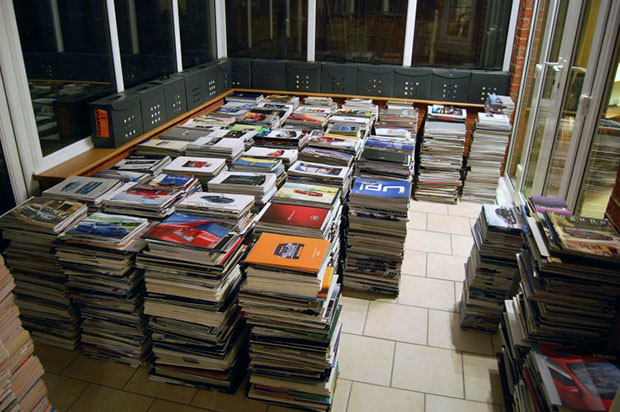 A conservatory full of brochures, amassing about 25,000.