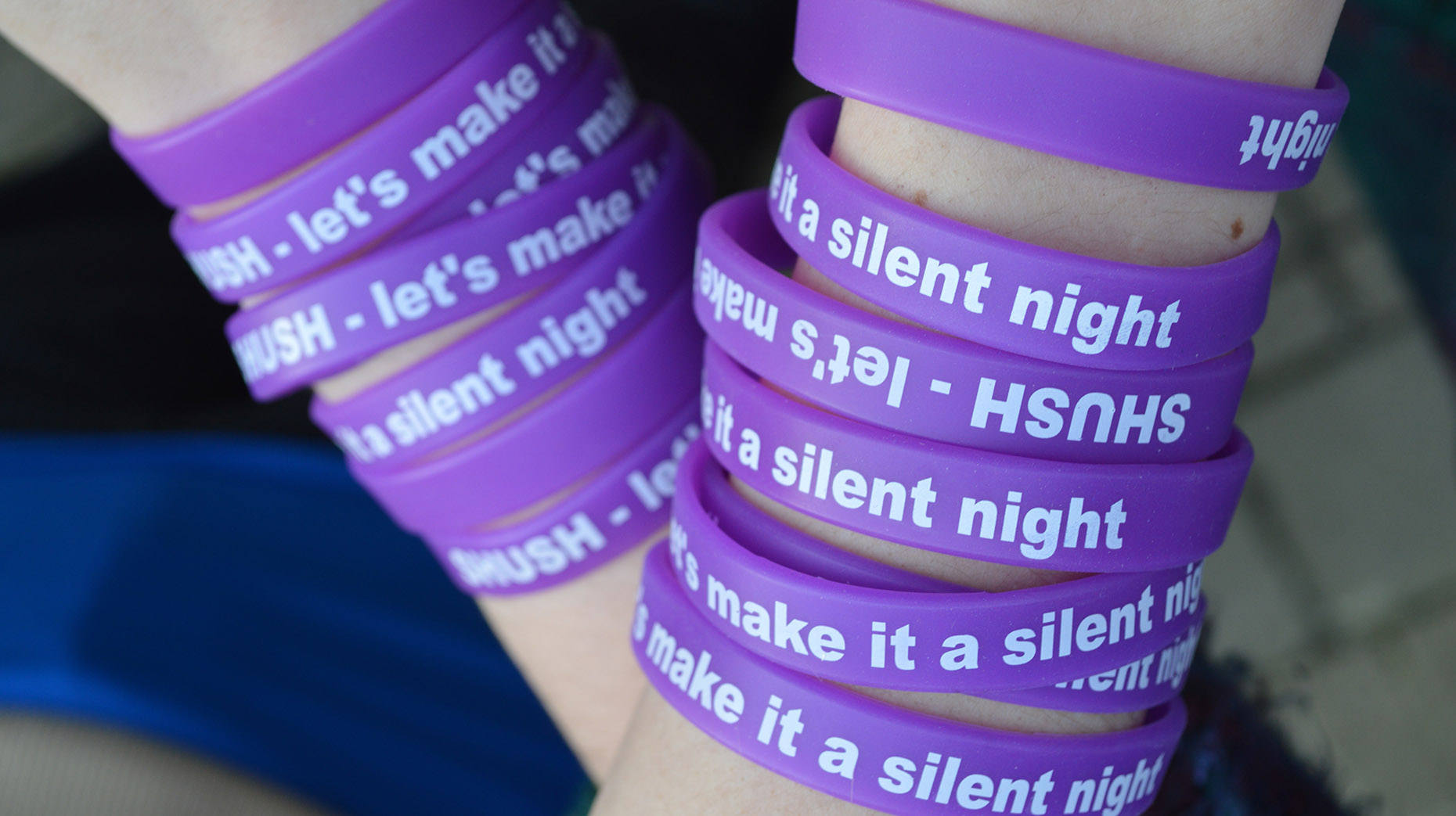 """Wristbands reading """"SHUSH - Let's make it a silent night"""" will be issued to students of the University of Lincoln. Photo: CoLC"""