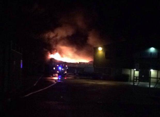The fire at the Camper UK garage. Photo: Callum Hill