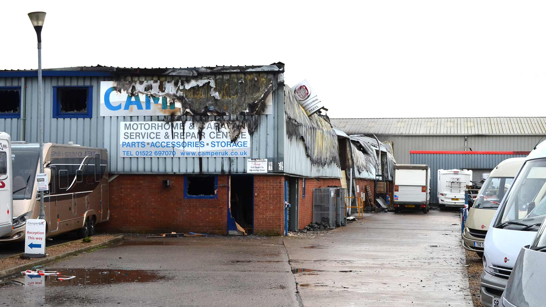 The damage at the Camper UK premises on Station Road in Lincoln.