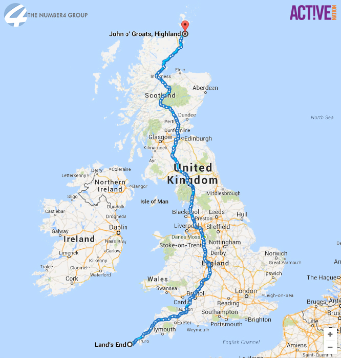Lincoln fundraisers will cycle a total of 874 miles, the equivalent distance between John o'Groats and Land's End. Infographic: The Number 4 Group