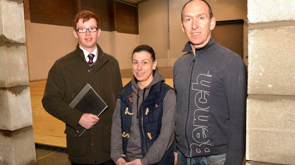(L to R) Banks Long & Co Trainee Surveyor Jonathan Purkiss and Witham Hill Gymnastics Club founders Alisa and Jamie Saunders inside the new premises.