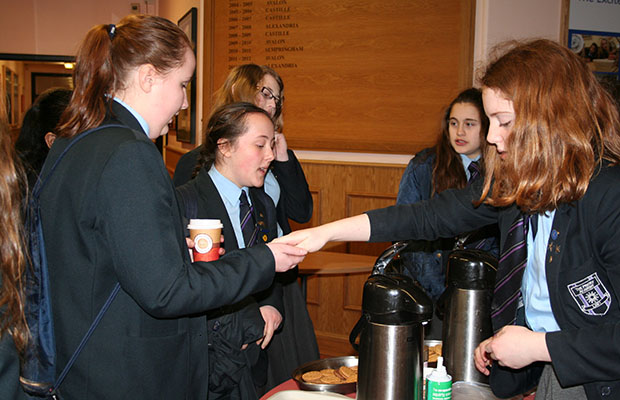 The team sold hot drinks and treats to fellow students and staff to raise money.