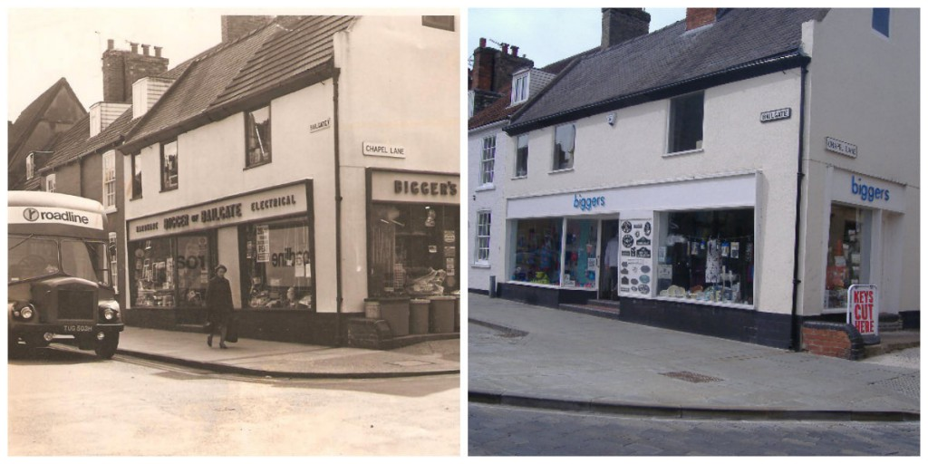 Biggers of Bailgate shop front in the 1950s compared with the shop front today. Photo: BofB
