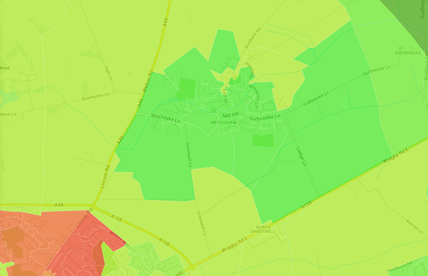 The area surrounding the village of Nettleham scroes the highest for standard of living with a rating of 99 our of 100. Source: Illustreets