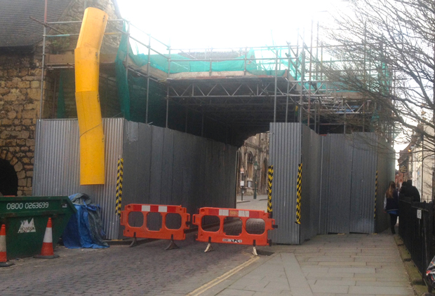Newport Arch completely closed off.