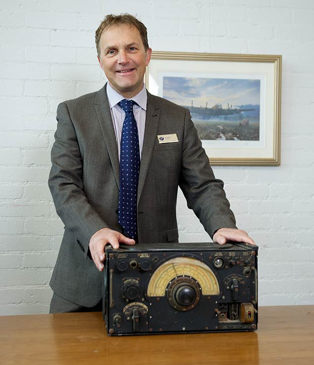 William Farr head teacher Andy Stones with the radio receiver.