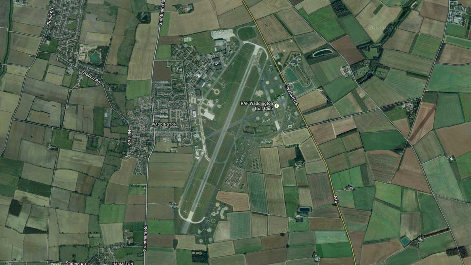 Satellite view of the RAF Waddington base near Lincoln. Image: Google Maps