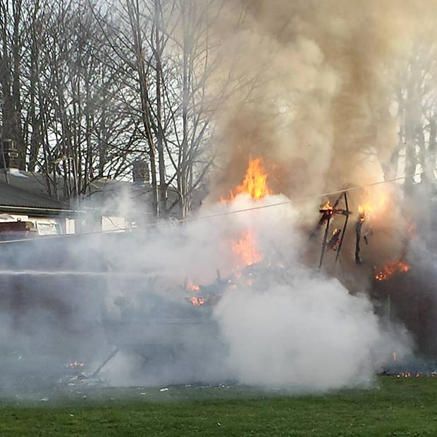 Firefighters extinguished the blaze with a hose reel. Photo: Nigel Mulhall