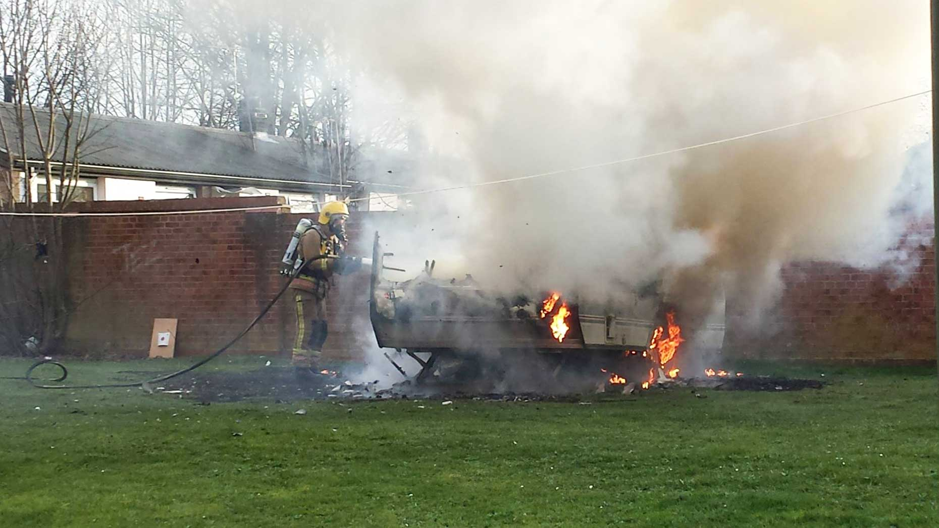 Two crews from Lincoln North and South attended the blaze. Photo: Nigel Mulhall