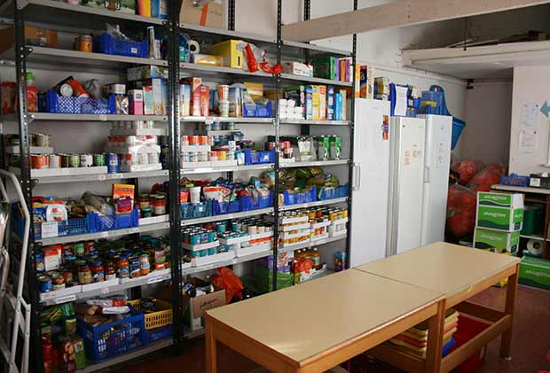 Part of the storage room at the Community Larder.