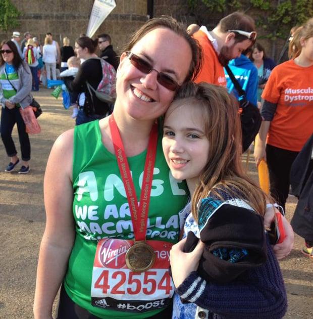 Angela Bainbridge ran the London Marathon in aid if Macmillan Cancer Support.