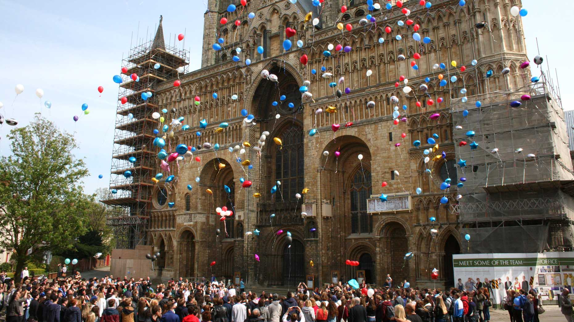 Hundreds of friends and family of Matty Ellis gathered at Lincoln Cathedral to release balloons in his memory. Photo: Emily Norton