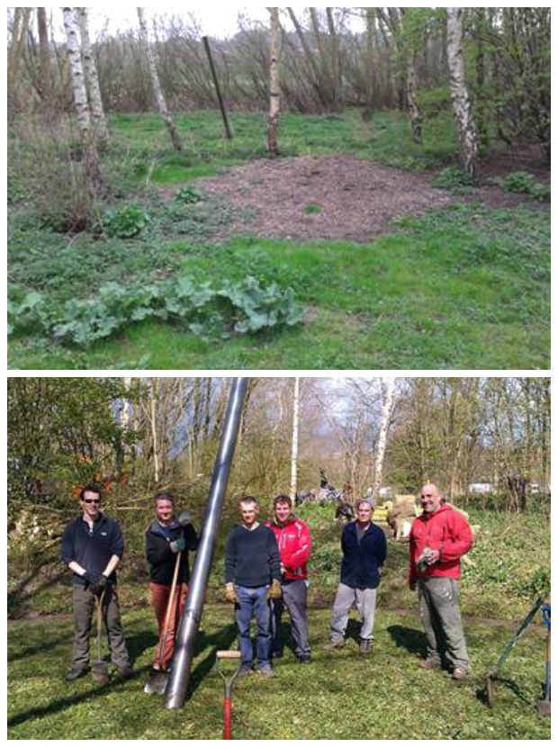 Before and after: The team of volunteers restored the sundial that was previously lost in the foliage.
