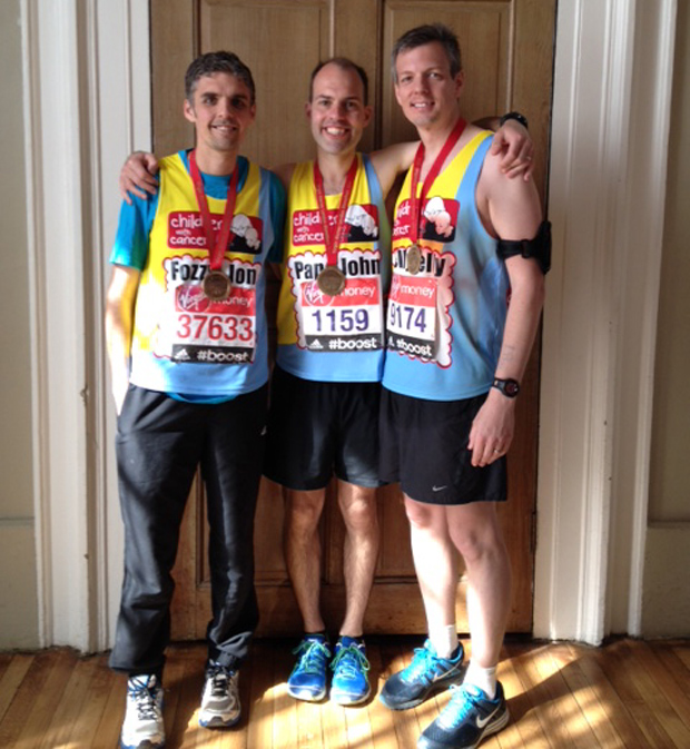 Matt Bell (right) completed the London Marathon for charity.