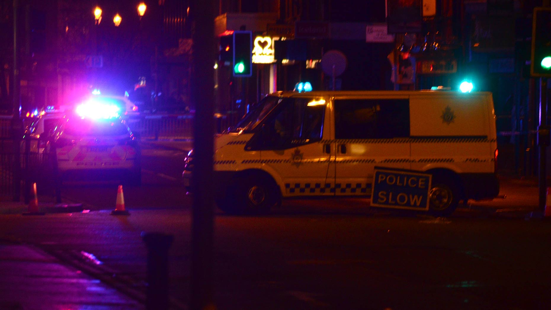 Police attending the incident in the early hours of April 9, 2014. Photo: Steve Smailes