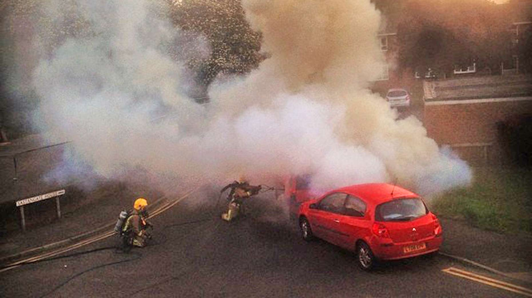 A red Vauxhall Corse was set on fire on Rasen Lane on May 18. Photo: Martyn Bewick