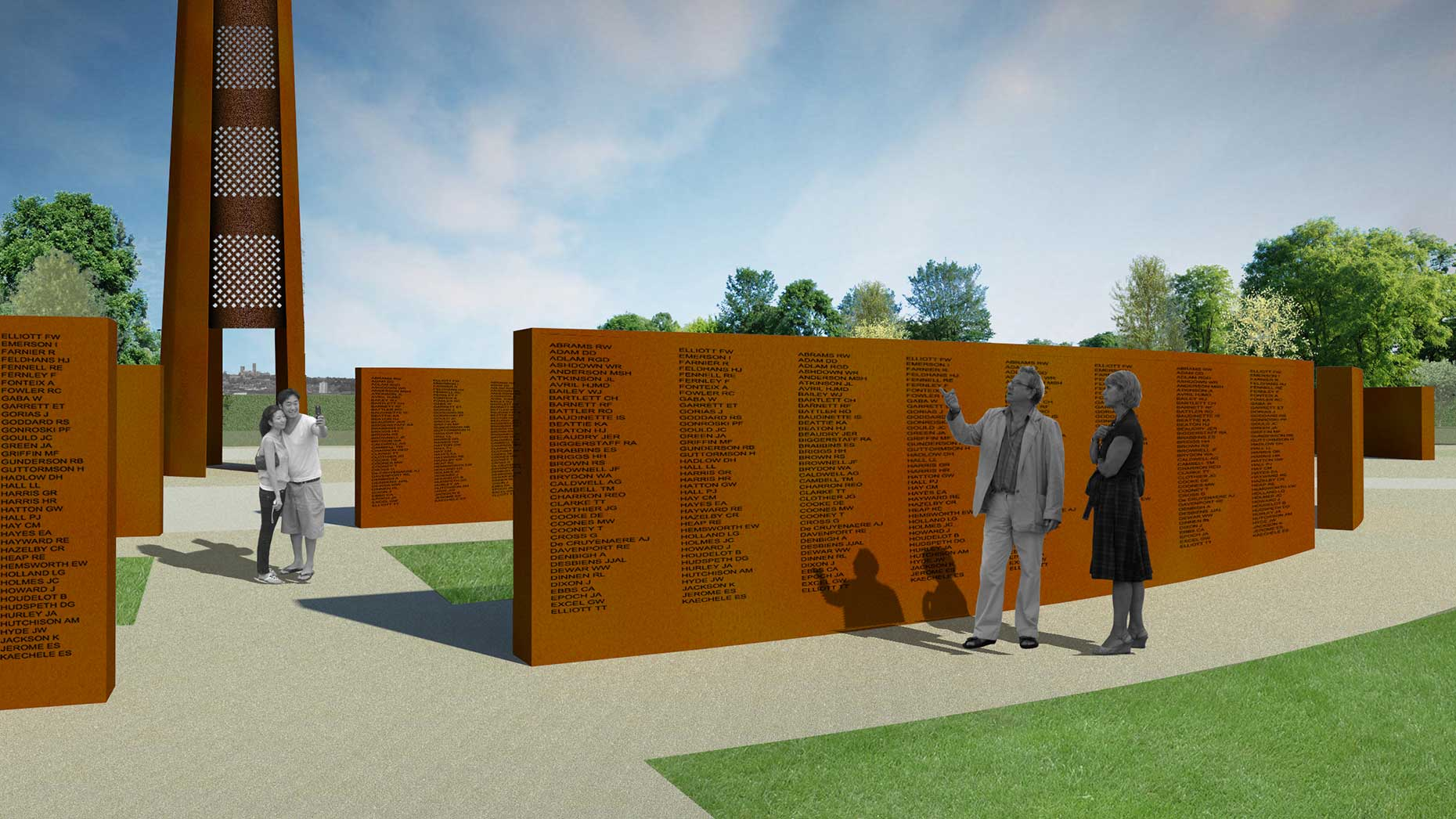 The Spire and memorial walls will be constructed from Corten steel, the same material as the Angel of the North.