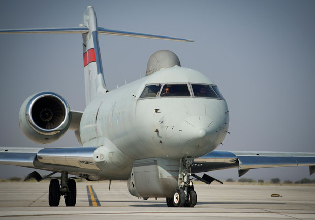 Sentinel R1 aircraft, based at RAF Waddington, can detect and recognise moving, static and fixed targets on the ground and are capable of operating for over nine hours at a time. Photo: MoD