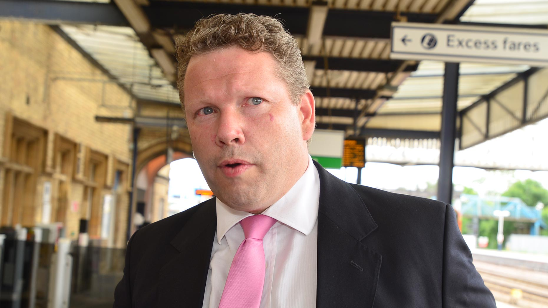 Lincoln MP Karl McCartney at Lincoln Central station after the Transport Secretary visit on june 26, 2014. Photo: Steve Smailes/The Lincolnite