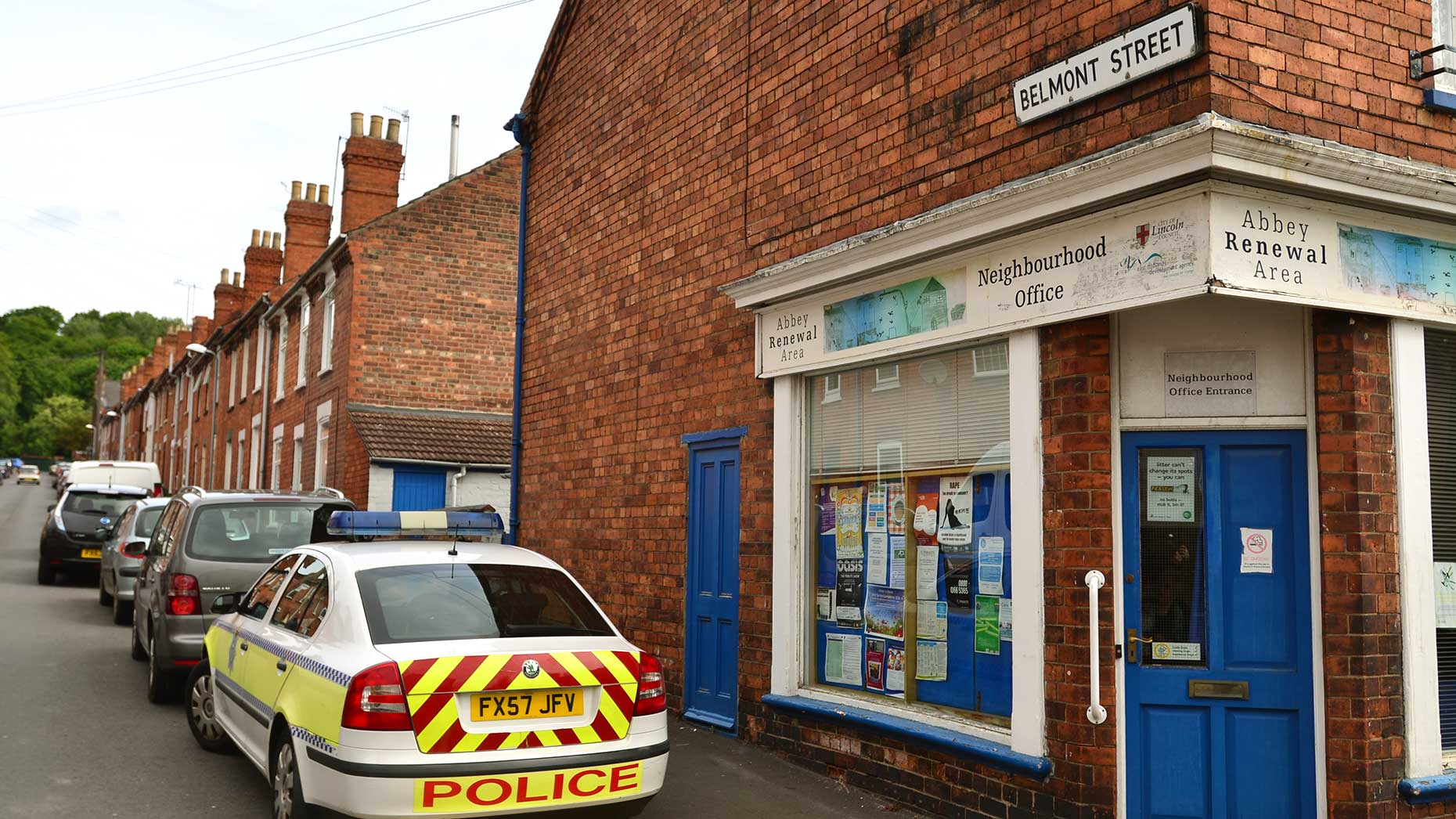 Police carrying out investigations on Belmont Street off Monks Road in Lincoln. Photo: Steve Smailes/The Lincolnite