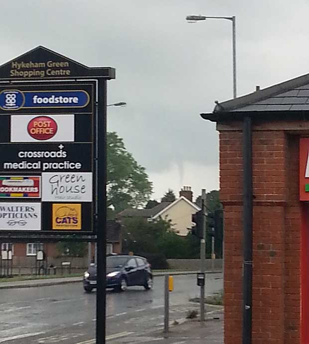The tornado was even spotted at Hykeham Green, North Hykeham, by Sue Stanley.