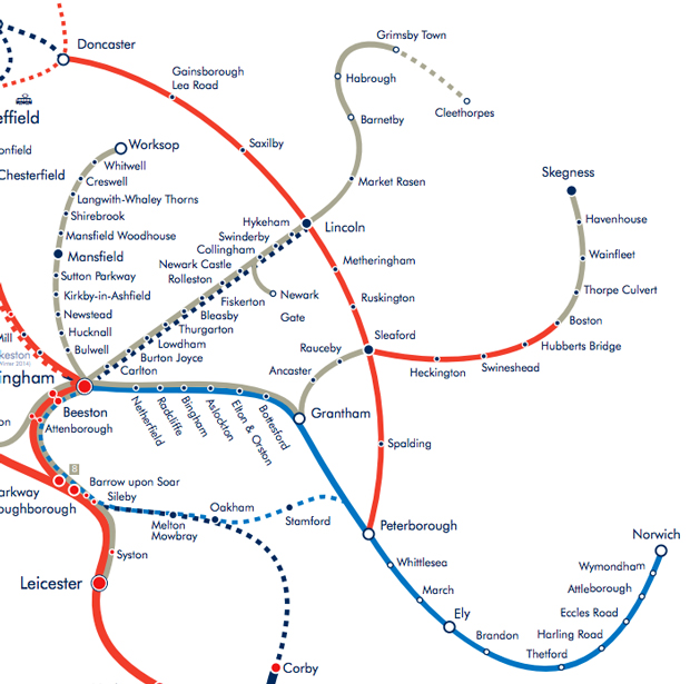 Affected routes show in red. Source: East Midlands Trains