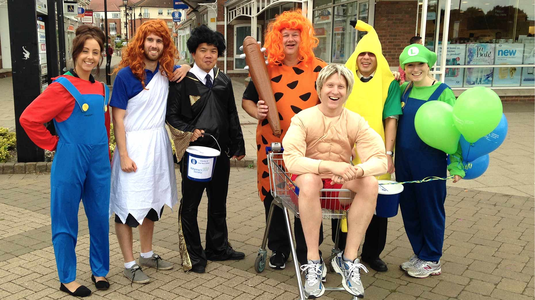 Lincolnshire Co-op's Head Office staff from left: Becky Halliday, Ben James, Chris Bautista, Tom Whittock, Richard Whittaker, Will Ngao and Danielle Martin before their charity relay.