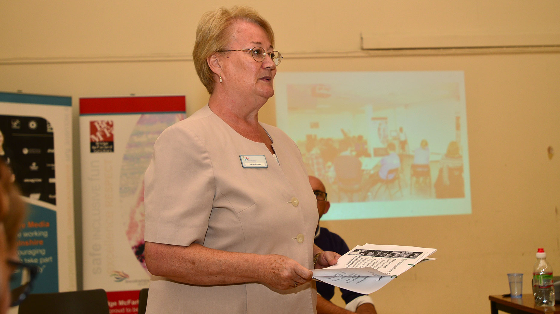 Lincolnshire Sport CEO Janet Inman presenting the initial plans in July 2014. Photo: Steve Smailes for The Lincolnite