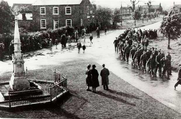 The war memorial in Keelby in 1945.