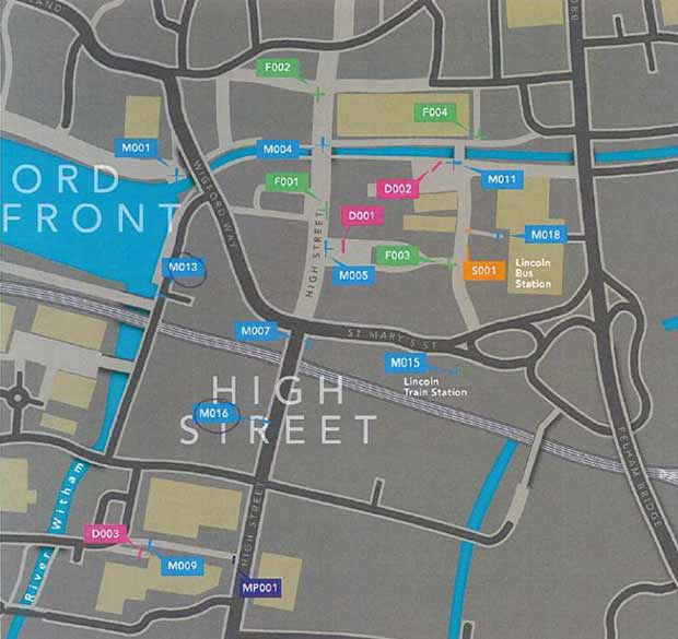 Where each sign will be positioned around the city centre.