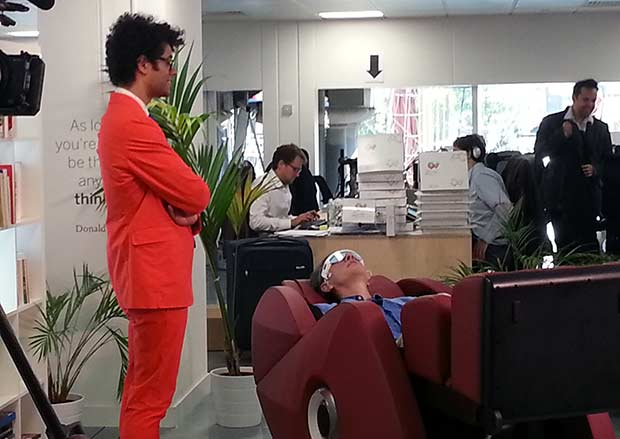 Richard Ayoade looks on as actor Richard E Grant uses concentration to move the quadrocopters around.